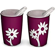 Ornamin 820 / 806 Non-Slip Cup with Flower 220 ml Blackberry / White with Spouted Lid with small opening (Pack of 2)