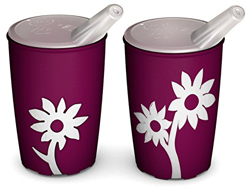 ornamin-820-806-non-slip-cup-with-flower-250-ml-blackberry-white-with-spouted-lid-with-small-opening