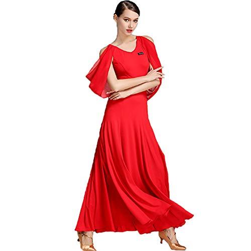 CPDZ Damen Mädchen lyrisches Kleid zeitgenössisch Schulterfrei Faltenrock Moderne Mode Ballkleid Maxi-Kleid Klassische Skater Kleid Kleid Nacht Cocktail Latin Waltz,XXL (Skaters Waltz Kostüm)