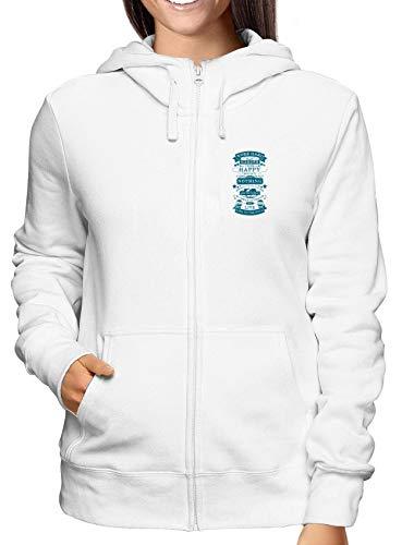 T-Shirtshock Sweatshirt Damen Hoodie Zip Weiss CIT0254 Work Hard Play Hard Think Happy (Play Hard Hard Hoodie Work)