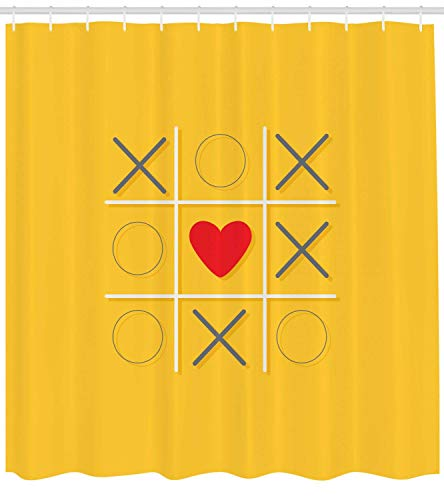 MLNHY XOXO Shower Curtain, Tic Tac Toe Game Inspired X and O Symbols with Heart Symbol Love Center, Cloth Fabric Bathroom Decor Set with Hooks, Mustard Grey Vermilion,Size:66W X 72L Inche Cute Button Center
