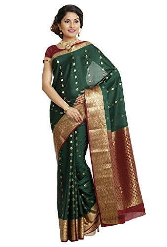 Kaushika Sarees Pure Crepe Traditional Mysore Silk Bottlegreen_Maroon Saree