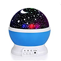 Modern Rotating Moon Sky Projection LED Night Lights Toys Table Lamps with Timer shut off & Color Changing For Baby Girls Boys Bedroom Decorative Lights Gift Baby Nursery Lights(Blue)