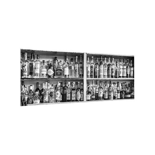 Bilderwelten Spritzschutz Glas - Bar Schwarz Weiß - Panorama, HxB: 50cm x 125cm -