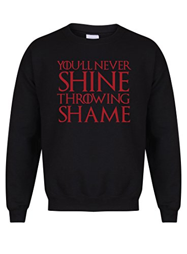 You'll Never Shine Throwing Shame - Unisex Fit Sweater - Fun Slogan Jumper (Medium - Chest 38-40 inches, Black/Red)