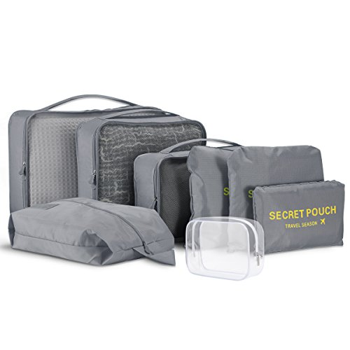 Packing Cubes - 8 Sets Travel Luggage Organiser Bags Suitcase Compression Pouches (8Pcs, Grey)