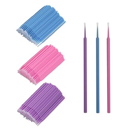 VADOO Extension de Cils de Micro brosses de, Maquillage jetable Individuel cosmétique de Faux Cils de 300 PCS Faux Cils Cils en Coton Ronds Remover Pourpre/Bleu/Rose