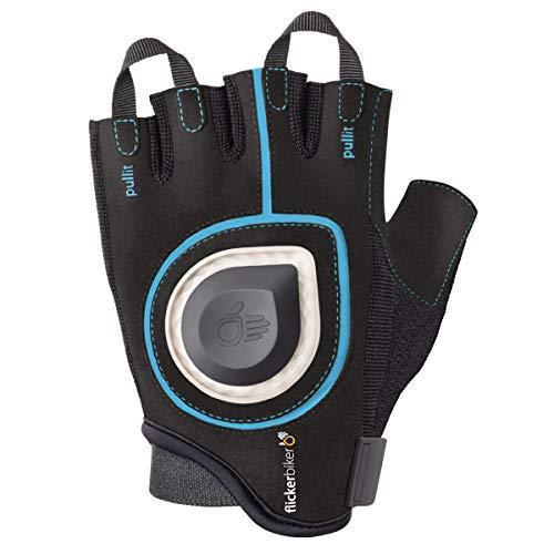 Flicker Biker Bicicleta Guante con LED indicador de dirección, LED Señal Bike Gloves, Azul y Negro