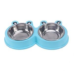 ueetek chien Gamelle double Gamelle Kit Gamelle pour chien chat animal (Bleu)