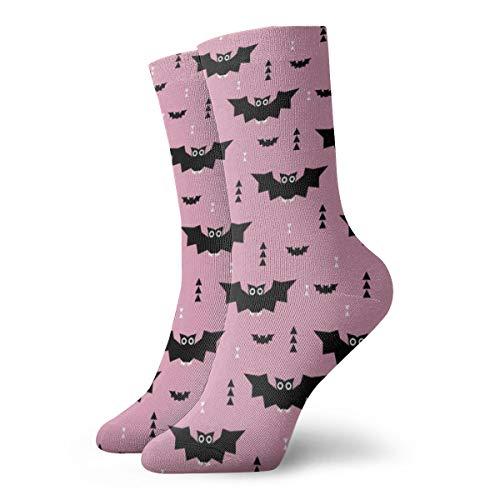 (Cute Little Bats Geometric Halloween Horror Print With Triangles Pink Night Men's Classics Cotton Dress Socks Flat Knit Fashion Crew Socks for Men 30 cm/11.8 inch)