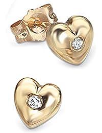 TF: D For Diamond Corazones de pendientes con Auténtica Diamante, Oro Amarillo