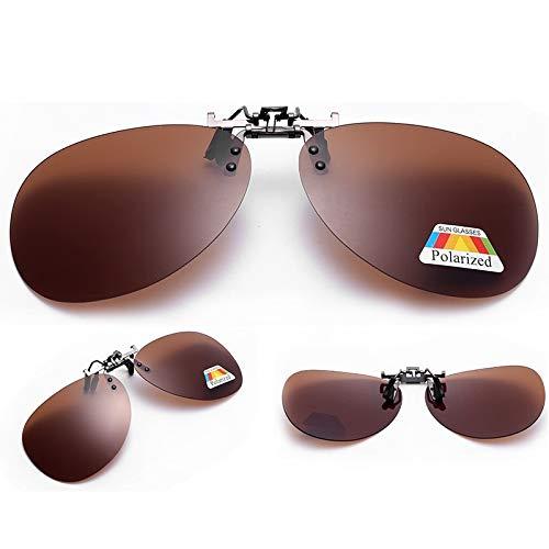 LKVNHP Aviation/Rechteck Clip On Sonnenbrille Polarisierte Männer Frauen Gespiegelte Anti Reflektierende Brillen Flip Up Doppel Objektiv MyopiaAviation Braun
