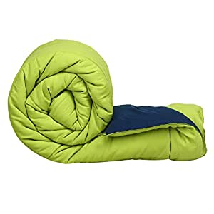 Clasiko Reversible Single Bed Big Size Comforter/Duvet for Summers/Ac; Color - Green & Blue; Fabric - Micro Cotton; 300 GSM; Size - 152x230 Cms; Color Fastness Guarantee