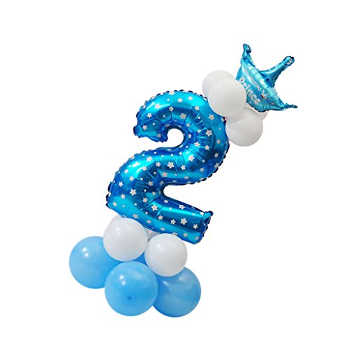 Sharplace Ballon Zahl 0-9 in Blau - Folienballons und Latexballons als Kinder Geschenk Geburtstag Party Dekoration - Nummer 2 (Geschenk-ballons)