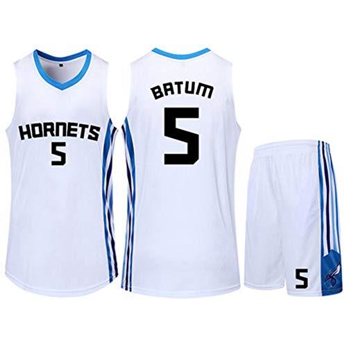 HS-QIAN1 5# Nicolas Batum Charlotte Hornets NBA Basketball Trikot Set Basketball Fan Atmungsaktiv Schnelltrocknend Wettkampf Trikot,Weiß,M(155~159)