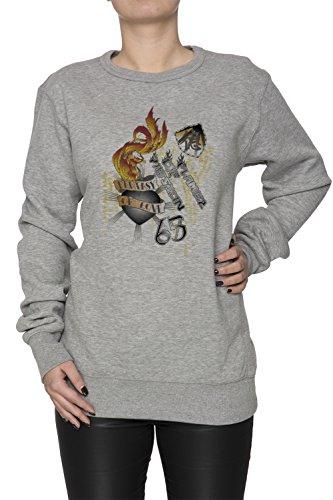 Flame Of Passion Donna Grigio Felpa Felpe Maglione Pullover Grey Women's Sweatshirt Pullover Jumper
