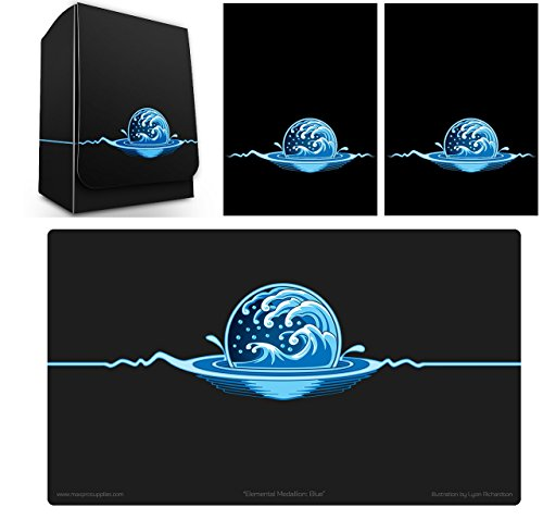 Max-Pro 1 ICONIC ELEMENTAL Water Symbol BLUE Deck Box , PLAYMAT and 100  Shuffle-Tech Sleeves (fits MTG Mana FORCE OF WILL Pokemon Cards) by Max