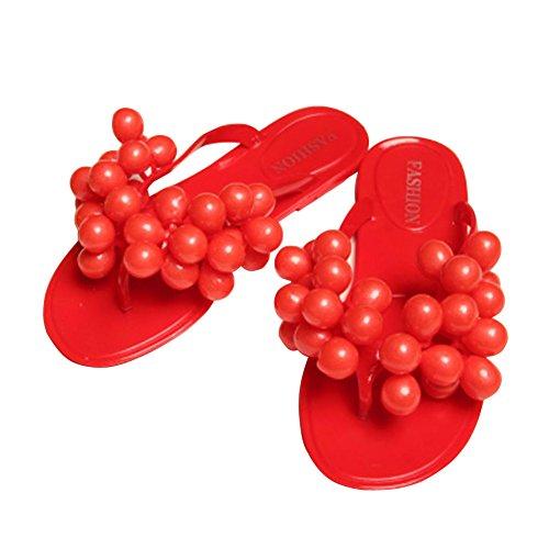 Minetom Damen Strand Pantoffeln Sexy Trauben Flip Flops Sommer Zehentrenner Outdoor Schuhe EU Größe Rot