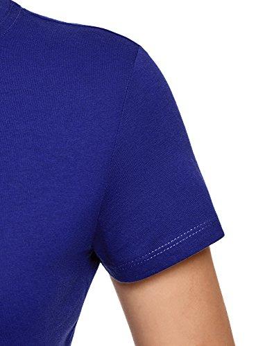 oodji Ultra Donna T-Shirt in Cotone con Scollo Rotondo Senza Etichetta Blu (7500N)