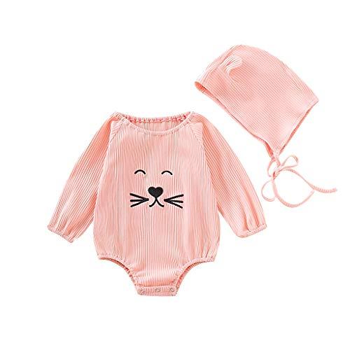 *Patifia Baby Mädchen Strampler Langarm Karikatur Katze Drucken Spielanzug Mit Hut Niedlich Beiläufig Bodysuit Gemütlich Baumwollmischung Outfits Bekleidungssets*