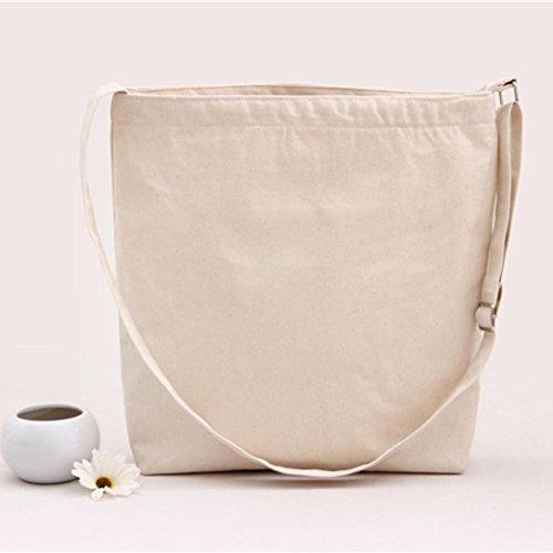 Schultertaschen, Tatis Frauen Canvas große Kapazität Normallack Single Schultered schief Kreuz Tasche (Schwarz) Beige