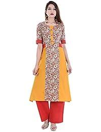 RAJMANDIRFABRICS Women's Cotton Yellow&Beige Kurti With Red Palazzo