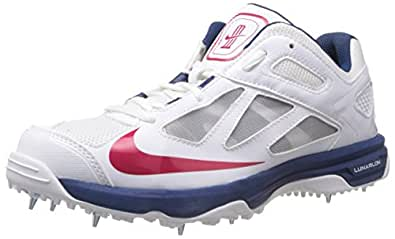 Nike Men's Lunar Dominate White,Distance Red,Brave Blue  Cricket Shoes -7 UK/India (41 EU)(8 US)