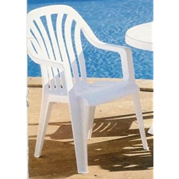 Charmant Vela High Back Resin Chair   White X1