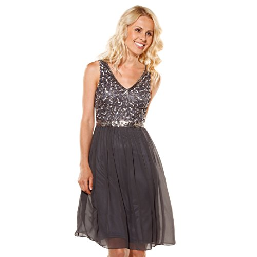 Young Couture Kleid ROMA anthrazit Gr. 46 - (1243715-23, GR. 46) Couture-kleid Schwarz