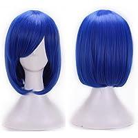 Las mujeres chica cosplay peluca alta temperatura cable de recto corto peluca de pelo Anime Sapphire azul Amesii