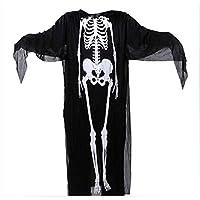 Halloween Masquerade Costume Skeleton Ghost Clothes bar Nightclub Show Masquerade Horror Costume,Black,120 cm