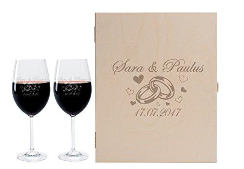 foryou24 2 Leonardo Weingläser mit Geschenkbox und Gravur Ringe zur Hochzeit Geschenkidee Wein-Gläser graviert