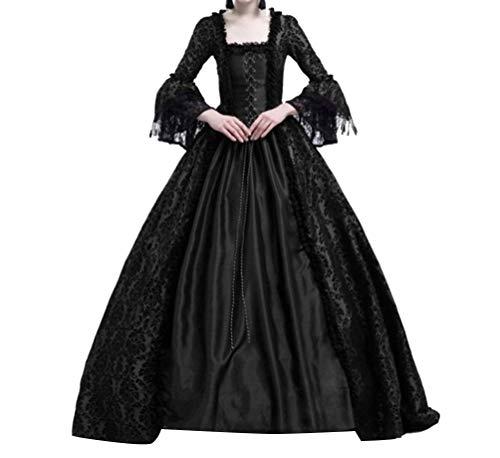 ös Rüschen Schnüren Aufflackern Hülsen Karneval Kostüm Frauen Gothic Palast Königin Vampir Cosplay Kostüme S Schwarz ()