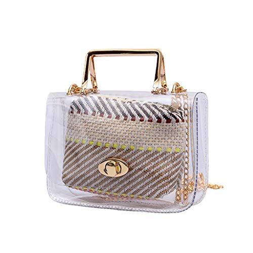 d643b16c2f819c Hmeng Damen Transparent Sommer-Strandtasche Stroh Tasche Schultertasche  Beiläufig Handtasche Umhängetasche (Beige)