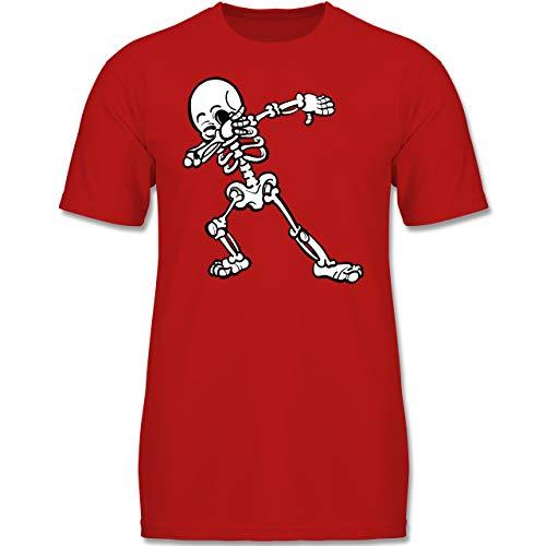 Anlässe Kinder - Dabbing Skelett - 128 (7-8 Jahre) - Rot - F130K - Jungen Kinder T-Shirt