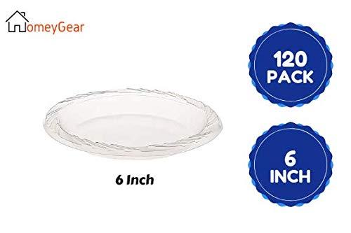 Einweg-Teller aus Kunststoff, transparent, 15,2 cm, für Vorspeisen, Desserts, Süßigkeiten, Kunst und Handwerk, Party-Anlässe und den täglichen Gebrauch, 140 Stück