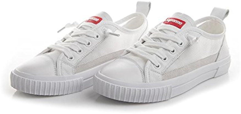 Zapatos de Mujer New Spring Fall PU Zapatos Blancos Pequeños, Bajos Gruesos Botines de Malla, Zapatos Transpirables... -