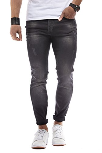 LEIF NELSON Herren Hose Jeans Stretch Basic Jeanshose Freizeithose Denim Slim Fit Chinos Cargo Jogger Jeans Skinny (29W / 34L, Schwarz)