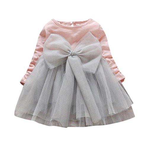 OverDose Niedliche Kleinkind Cute Baby Mädchen Langarm Kleid Plaid Kariertes Bowknot Prinzessin Kleid Warme Kleidung (12M, B-Pink)