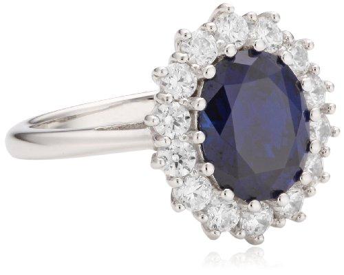 Diamonfire Damen-Ring Royal Colours 925 Silber rhodiniert Brillantschliff blau Zirkonia Gr. 52 (16.6) - 61/1336/1/089 902