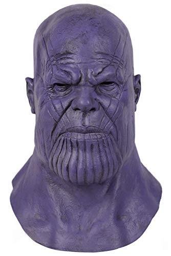 RedJade Halloween Thanos Latex Maske Kopfbedeckung Cosplay Helm Lila