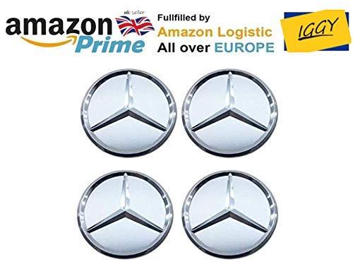 IGGY 4x Tappi Coprimozzo Bianco Logo Mercedes da 60mm - CLASSE A B C E CLK GL M ML SLK - per Borchie Cerchi Lega