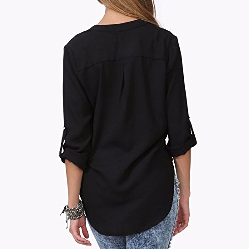 QIYUN.Z La Mode V Cou Roll-Up Des Femmes A Manches Longues En Mousseline De Soie Chemises Taille Blouse M-6XL Noir