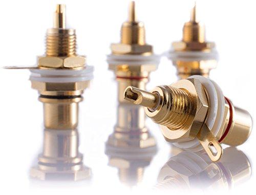 Hifi Lab Cinch Einbau-Buchse 24-k vergoldet RCA Audio Cinch Buchse High-End Verbinder Plug Jack Chinch Anschluss 4X Audio-buchse