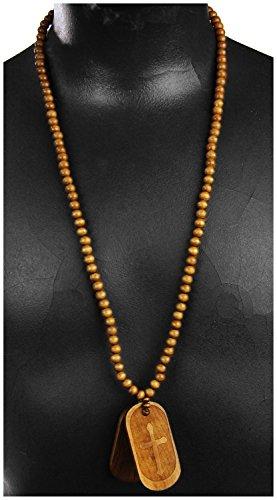Braune Holzkette Kreuz JESUS Kostüm Halskette Accessoire
