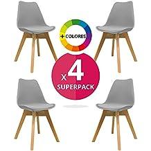 Silla Nórdica (Pack 4) - Silla escandinava Gris - silla nordic scandi inspirada en silla eames dsw - Mona - (Elige tu color)