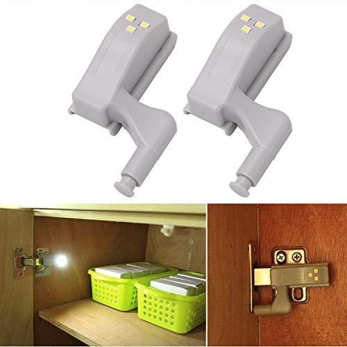 zanasta 2 Stück LED Schranklicht/Schrankbeleuchtung   Licht für Schrank Scharniere, On/Off Nachtlicht Warm-weiß