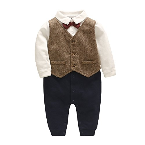 8c19c5ef63a DecStore Baby Boys Bowtie Gentleman Romper Jumpsuit Overalls Rompers Formal  Outfit(Brown 0-3M