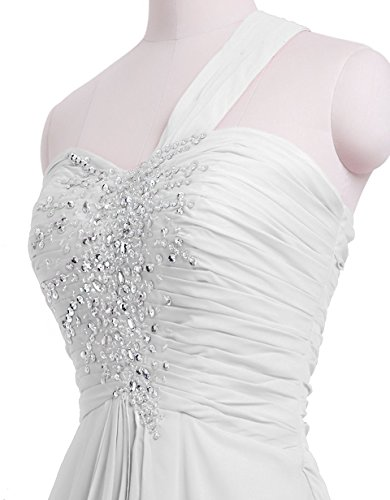 CoutureBridal® Robe Maxi de Soirée en Chiffon sans Dos Perlé avec Une Epaule Blanc