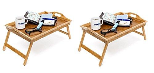 Relaxdays Plateau en bambou pour petit-déjeuner au lit 25 x 52 x 33 cm Avec poignées et pieds pliables Marron naturel, Bambou, X 2